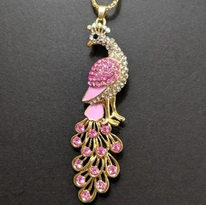 Pink Peacock Pendant Necklace New